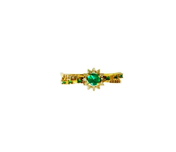 Anel Ouro Amarelo 18k Esmeralda e Diamantes L 20