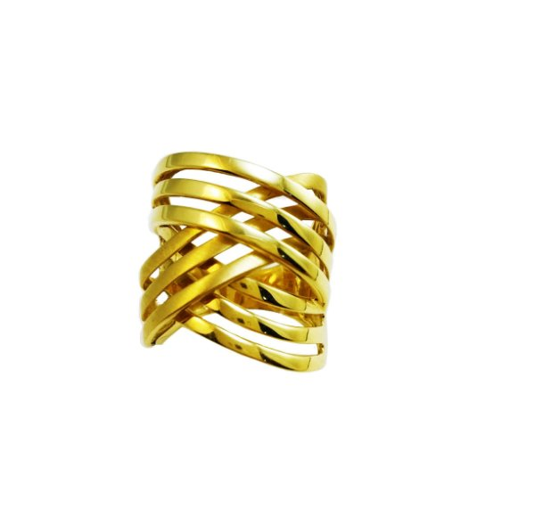 Anel Ouro Amarelo 18k trançado L 34