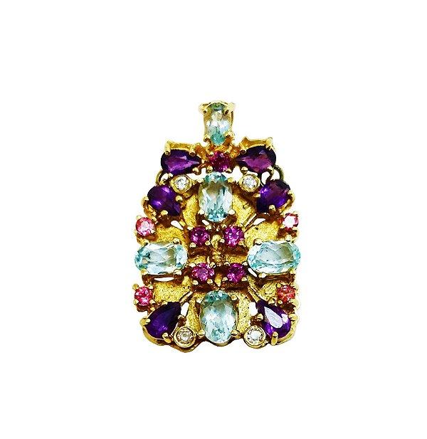 Pingente Ouro Diamantes e Pedras Brasileiras L 77
