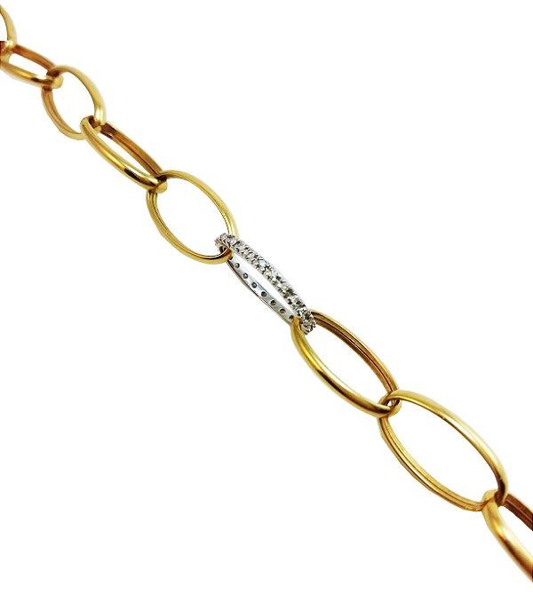 Pulseira Ouro 18k com Diamantes Elos Ovais L 50.2