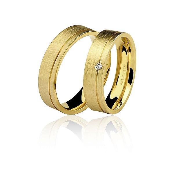 Aliança com Diamantes Ouro Amarelo 18k Escovado