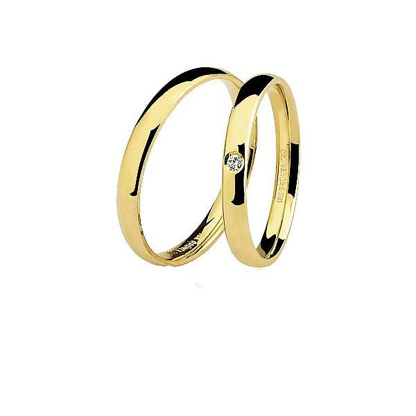 Aliança Ouro Amarelo 18k Tradicional com Diamante Ref 75.0047.2002