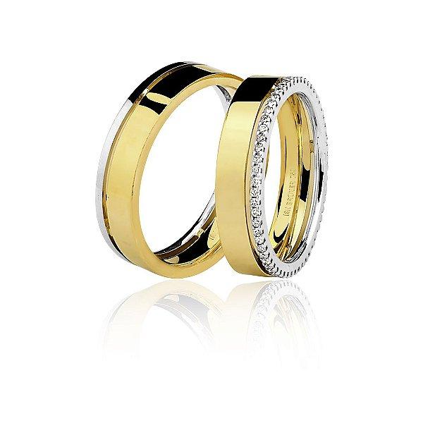Aliança Ouro 18k Amarelo e Branco Plana Polida com Friso e Diamantes 76.0220.4034