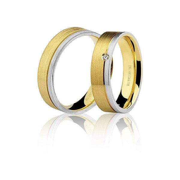 Aliança Ouro 18k Amarelo e Branco Plana Escovada com Diamante 76.0187.4002