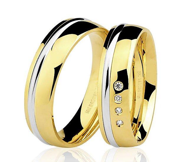 Aliança Ouro 18k Amarelo e Branco Meia Cana Anatômica sem Pedras 75.0170.4000