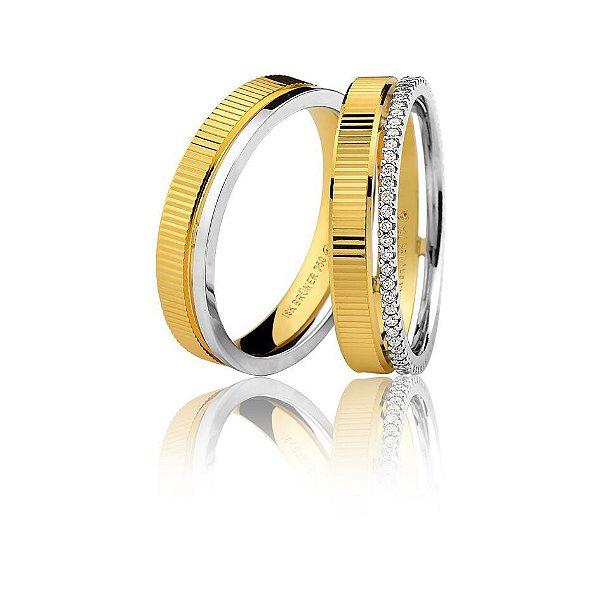 Aliança Ouro 18k Amarelo e Branco Friso Vazado Diamantada com Diamantes no Aro Inteiro 76.0259.4024