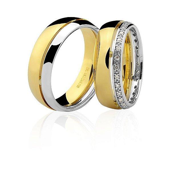 Aliança Ouro Amarelo e Branco 18k Friso em Baixo Relevo sem Pedras Ref 75.0248.4000