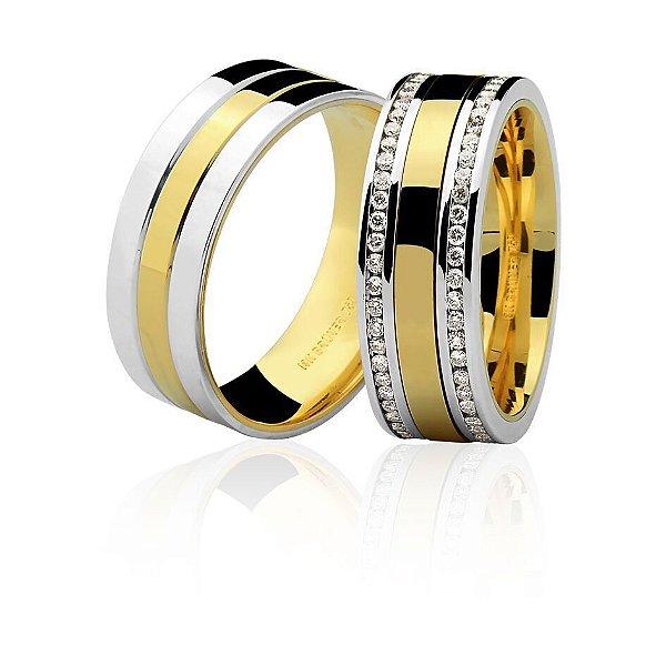 Aliança Ouro Amarelo e Branco 18k Plana Larga Anatômica com Diamantes nas Laterais Ref 76.0144.4076