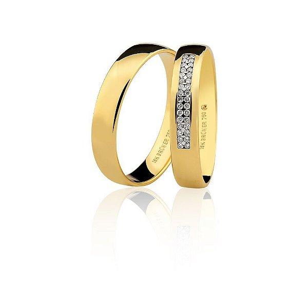 Aliança Ouro Amarelo 18k Lisa Anatômica com Diamantes Ref 76.0316.2013