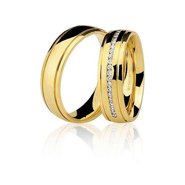 Aliança Ouro Amarelo 18k Arredondada com Dois Frisos sem Pedras Ref 75.0199.2000