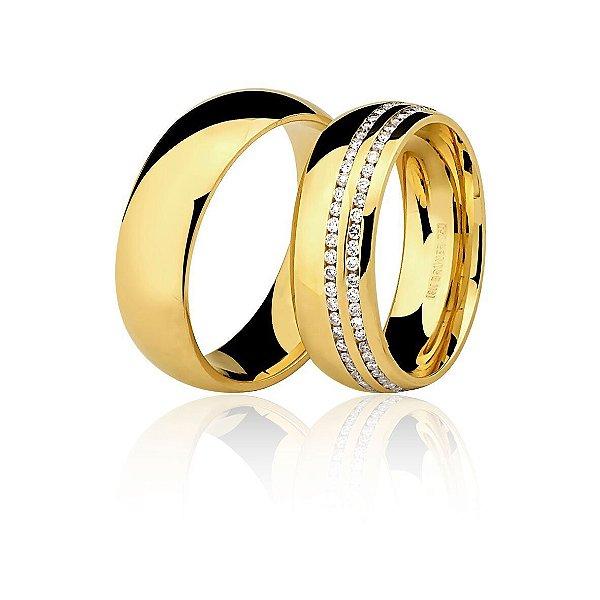 Aliança Ouro Amarelo 18k Tradicional Larga com Duas Carreiras Diamantes Aro Inteiro 76.0089.2078