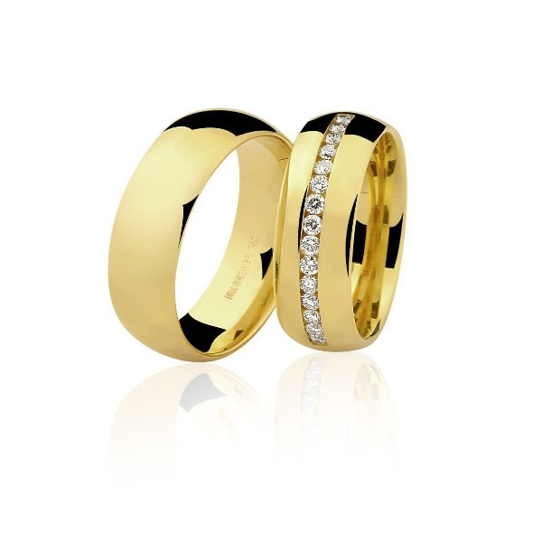 Aliança Ouro Amarelo 18k Lisa Meia Cana sem Pedras Ref 75.0234.2000