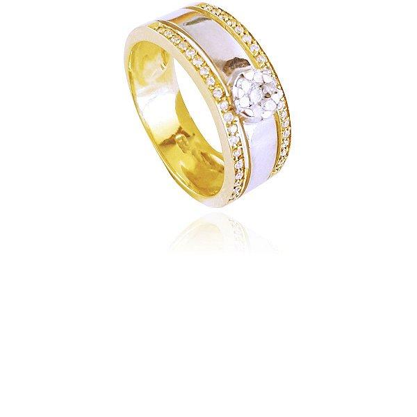 Anel Chuveirinho Baixo com Aparadores em Ouro 18k e Diamantes L 53.5