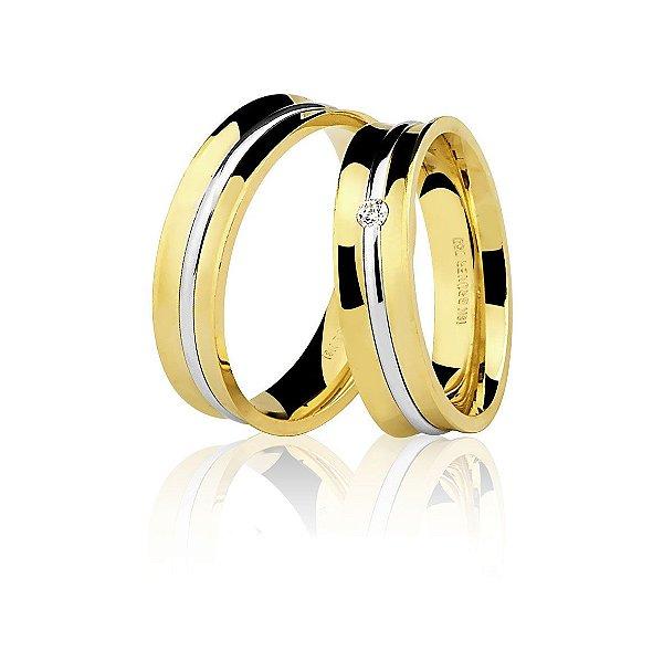 Aliança Ouro 18k Amarelo e Branco Côncava Polida com Diamante Ref 76.0202.4005