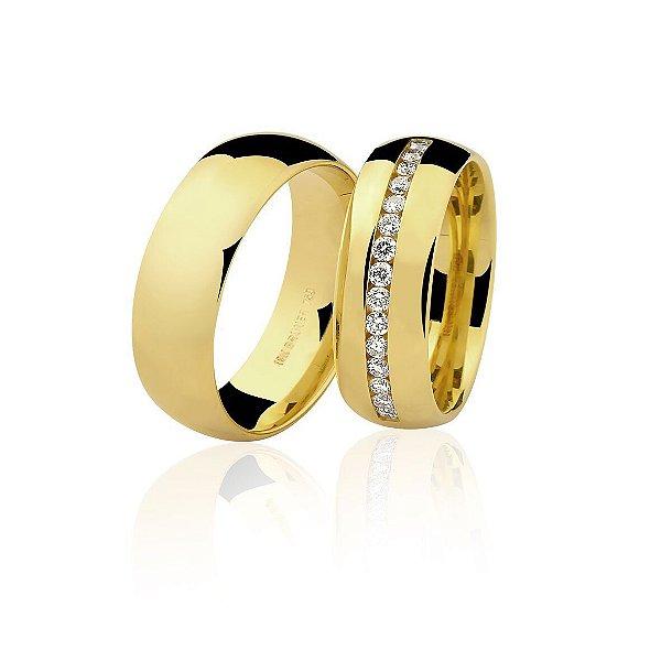 Aliança Ouro Amarelo 18k Lisa Meia Cana com Diamantes Ref 76.0234.2030