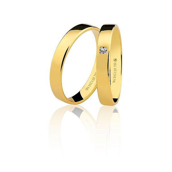 Aliança Ouro Amarelo 18k Plana Polida com Diamantes Ref 76.0314.2002