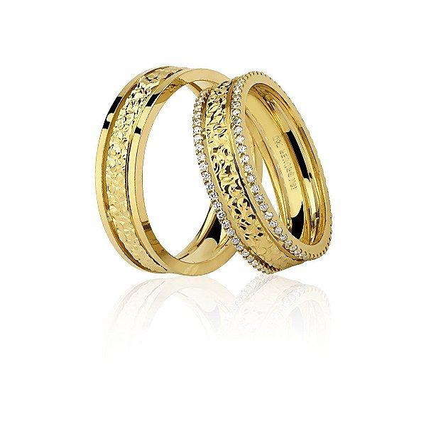 Aliança Ouro 18K Amarelo Feminina Com Diamante Ref 76.0227.2059