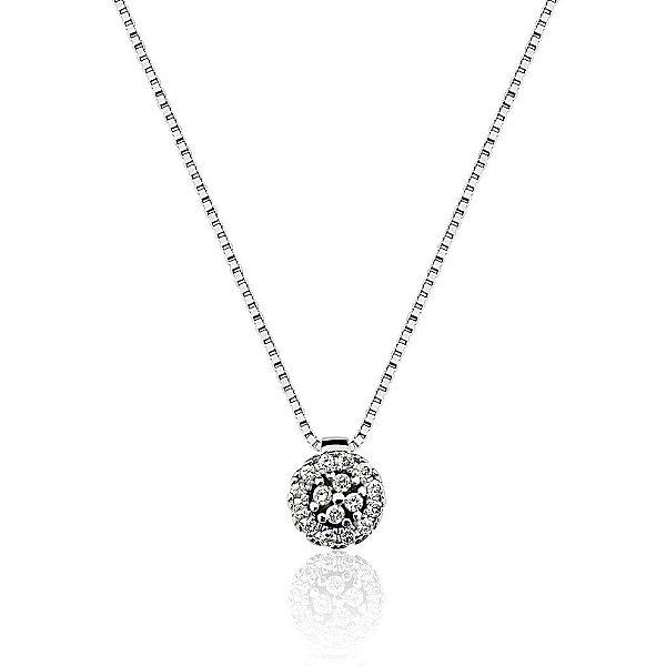 Gargantilha Ouro 18K Branco Clássica Diamante L 19.4