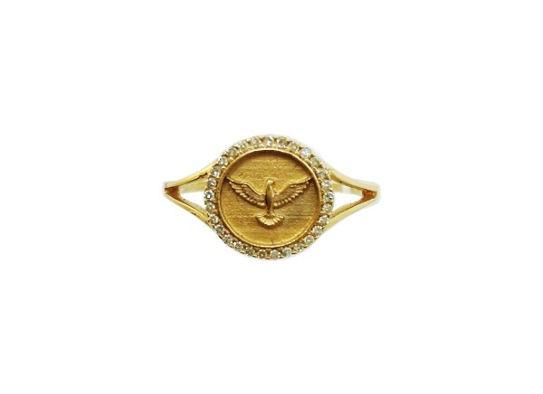 Anel Ouro Amarelo 18k Divino com Diamantes L 19.3