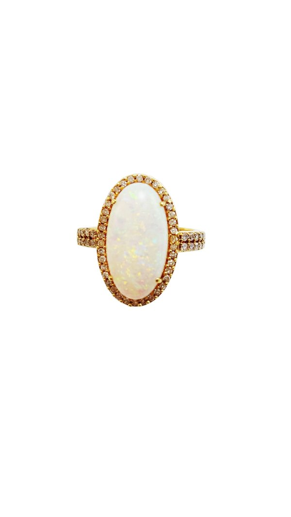 Anel Ouro Amarelo 18k Opala e Diamantes L 58