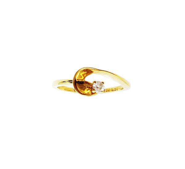 Anel Ouro Amarelo 18k Solitário Diamante com Detalhe L 19.2