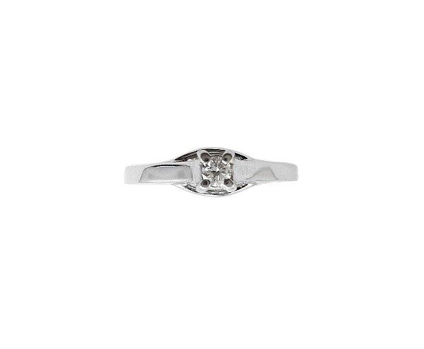 Anel Ouro Branco 18k Solitário Diamante Abas Laterais Vazadas L 20