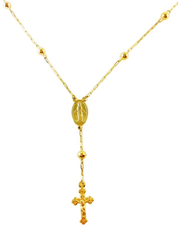 Gargantilha Terço em Ouro Amarelo 18k L 10