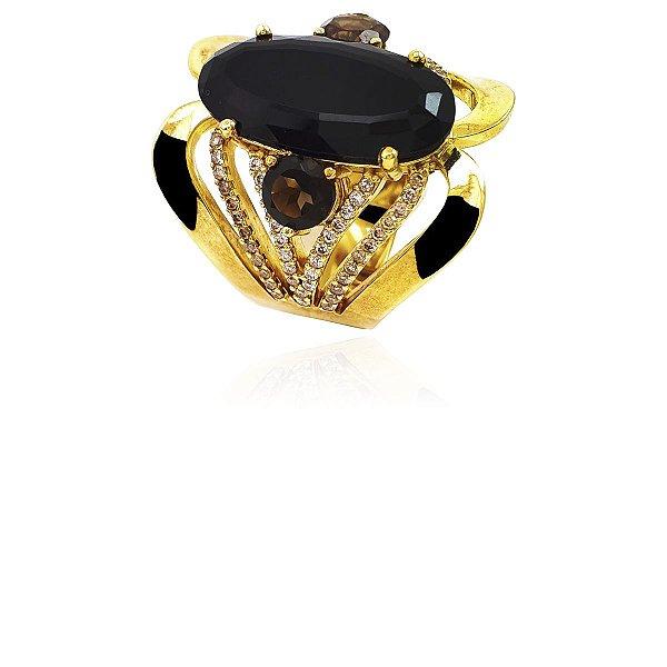 Anel Ouro Amarelo 18k Ônix Oval Grande e Diamantes L 112.5