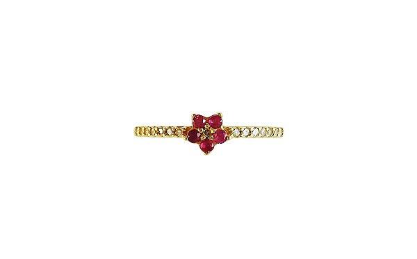 Anel Meia Aliança diamantes com Flor de Rubi em Ouro 18k L 14.9