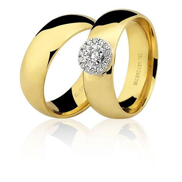 Aliança Ouro Amarelo 18k Meia Cana Anatômica Chuveirinho com Diamantes Ref 76.0234.4029
