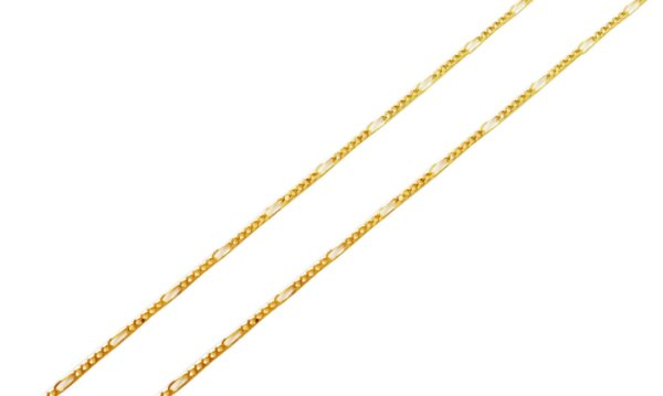 Corrente Ouro Amarelo 18k Groumet Alternada 5 x 1 L 12.5