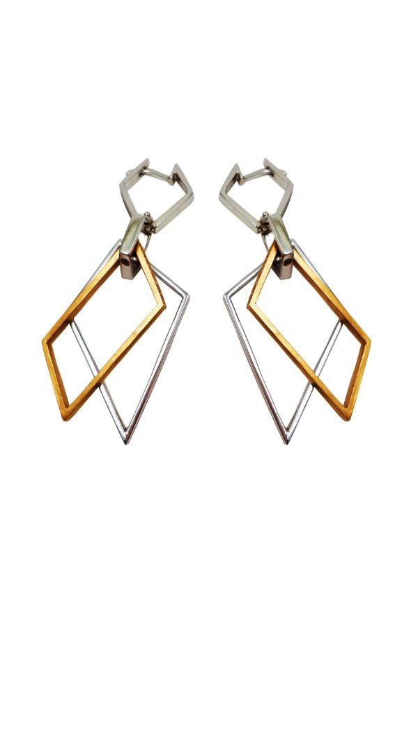 Brincos Prata e Ouro 18k Argolas Estilizadas Com Diamantes VD 1255