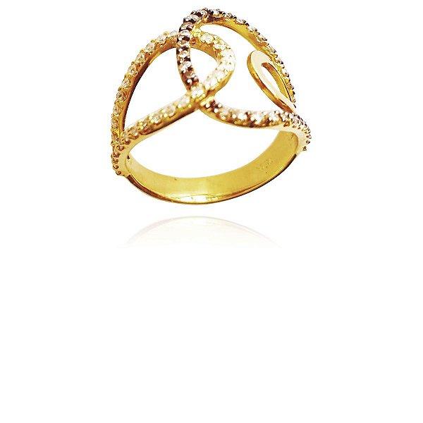 Anel Ouro Amarelo 18k Vazado Diamante Champanhe L 50.7