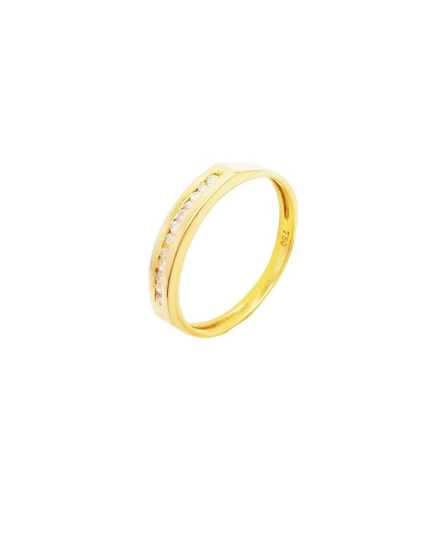 Anel Ouro Meia Aliança com Diamantes Embutidos L 23