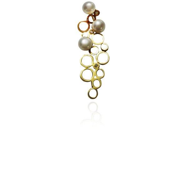 Pingente Ouro Pimple of Pearls Ouro 18k e Perolas L 39