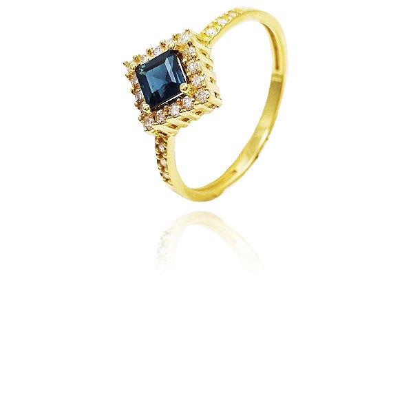 Anel Ouro 18k Safira Azul e Diamante L 25.2