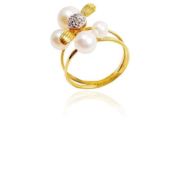 Anel Ouro com Aro Duplo Vazado Pérola e Diamantes L 36.3