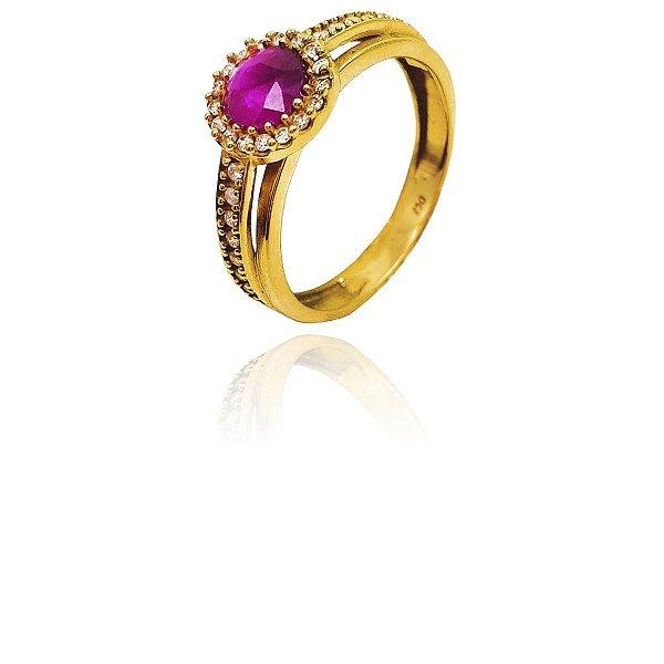 Anel Ouro Amarelo 18k Rubi e Diamante France L 36