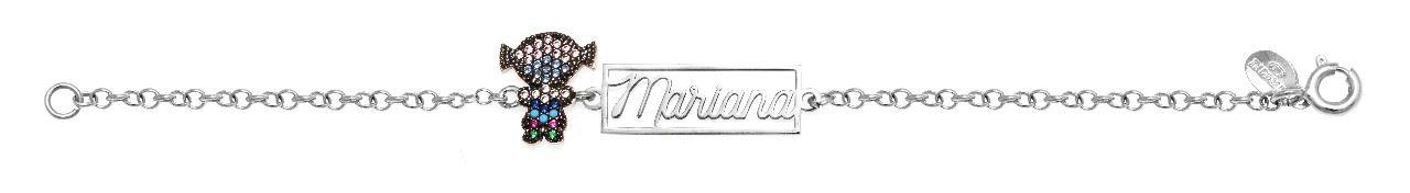 Pulseira Prata Plaquinha Vazada com Filha Nome Mariana VD 104