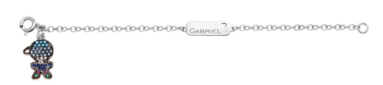Pulseira Prata Plaquinha com Filho Nome Gabriel VD 128