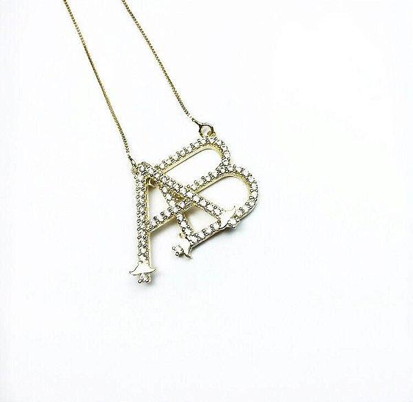 Gargantilha Ouro 18k Monograma Cravejado com Pedras L 16