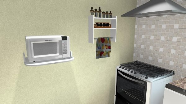 Suporte para microondas prateleira 60x45 suporte invisivel for Mesa para microondas