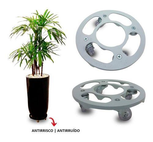 Suporte Para Vaso Redondo 30cm Alumínio Roda Silicone Cinza