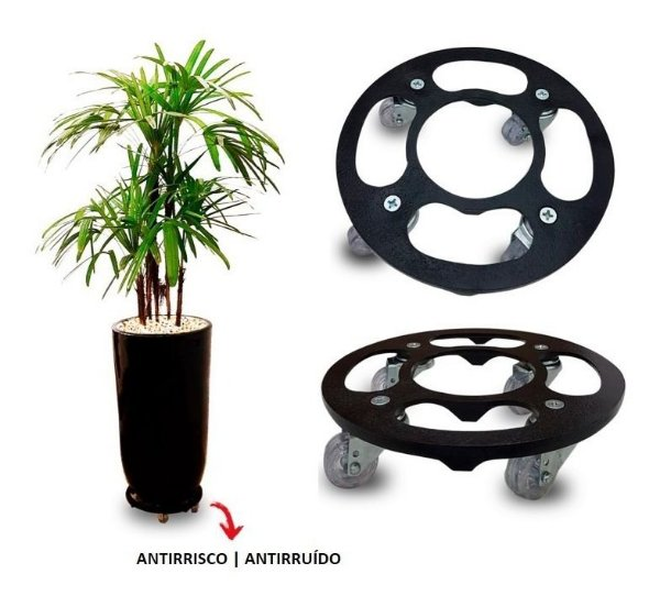 Suporte Para Vaso Redondo 25cm Alumínio Roda Silicone Preto