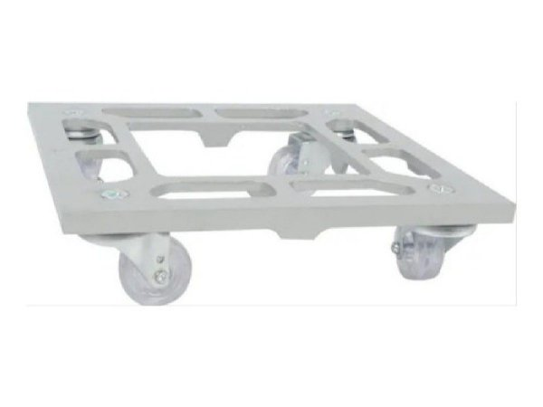 Suporte Para Vaso Quadrado 25cm Alumínio Roda Silicone Prata