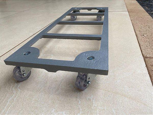 Suporte Para Vaso 60x20cm Retangular Aluminio Rodízio -prata