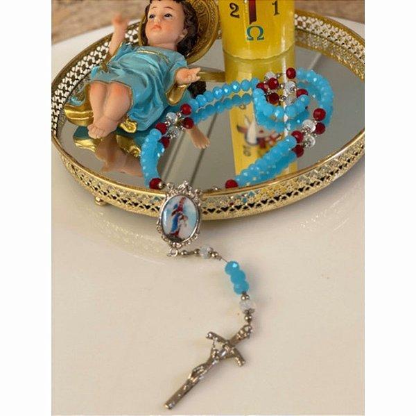 Terço Maria Passa Na Frente - De Cristais No Fio De Aço