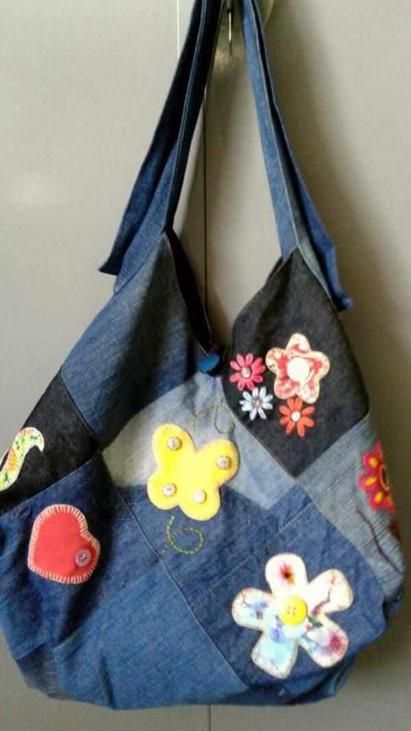 dd91a95e5 Bolsa Jeans com Patchwork - Boutique Chiq