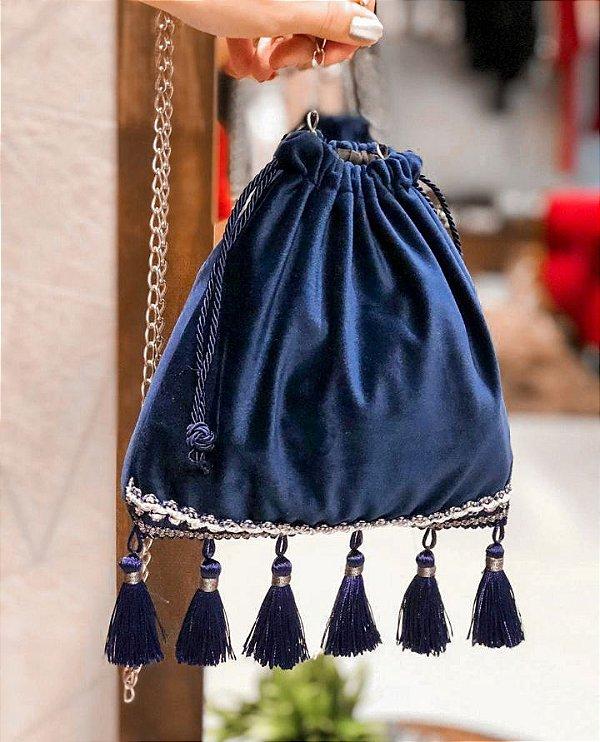 Bolsa saquinho velvet azul petróleo