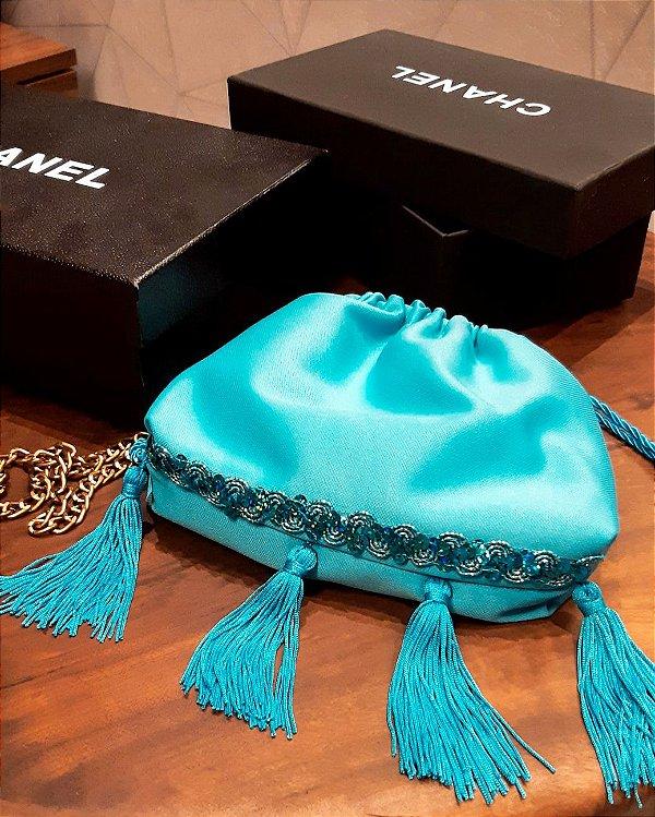 Bolsa tassel turquesa & bordados